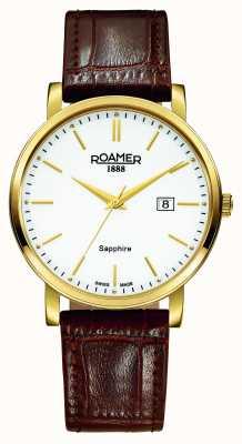 Roamer Linia klasyczna | brązowy skórzany pasek | biała tarcza 709856 48 25 07