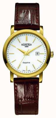 Roamer Linia klasyczna | brązowy skórzany pasek | biała tarcza 709844 48 25 07