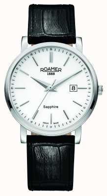 Roamer Linia klasyczna | czarny skórzany pasek | biała tarcza 709856 41 25 07