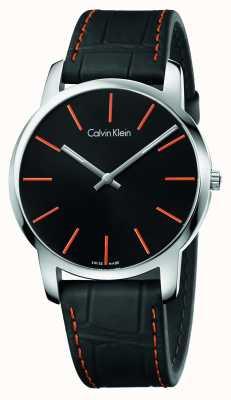 Calvin Klein Męski czarny skórzany pasek na miasto czarna tarcza K2G211C1
