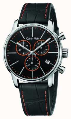 Calvin Klein Męskie miasto, czarny, pomarańczowy, skórzany chrono K2G271C1