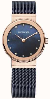 Bering Damska niebieska siatka skrzynia z perełkami z różowego złota 10126-367