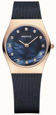 Bering Damskie różowe złoto, niebieska perła, kryształ 11927-367