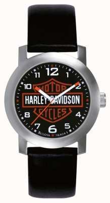 Harley Davidson Męski czarny skórzany pasek zegarka 76A04