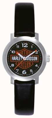 Harley Davidson Zegarek damski czarny skórzany pasek 76L10