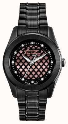 Harley Davidson Zegarek złoty czarny i różany dla kobiet 78L112