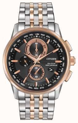 Citizen Męski chronograf ze świata eco-drive ze stali i różowego złota AT8116-57E
