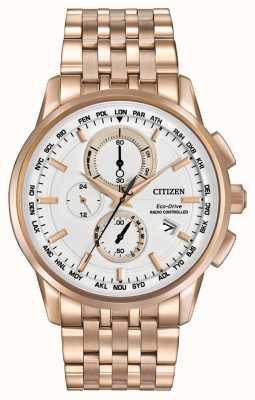 Citizen Męski eko światowy chronometr przy różanym złocistym brzmieniu AT8113-55A