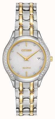 Citizen Eko-dysk dla kobiet 30 diamentów w dwóch odcieniach GA1064-56A