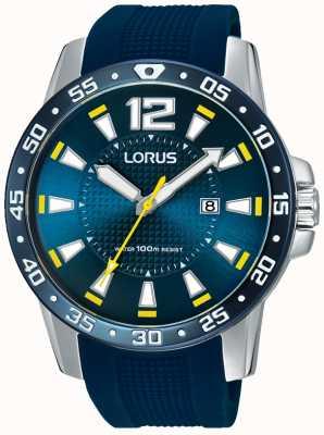 Lorus Męski niebieski pasek z gumową niebieską tarczą RH935FX9