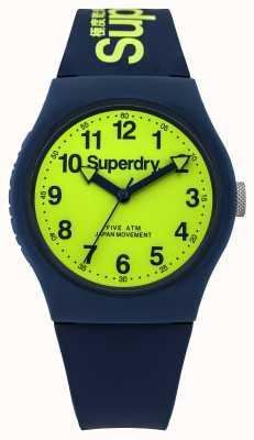 Superdry Męski miejski niebieski gumowy pasek z zieloną tarczą SYG164UN