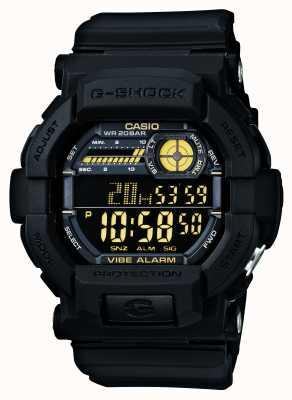 Casio G-shock wibrujący 5 alarmowy zegarek czarny żółty GD-350-1BER