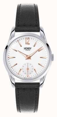 Henry London Czarny skórzany pasek Highgate z białą tarczą HL30-US-0001