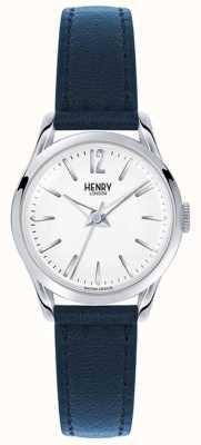 Henry London Niebieski skórzany pasek Knightsbridge z białą tarczą HL25-S-0027