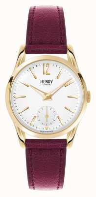 Henry London Holborn skórzany pasek w kolorze białym z czerwoną tarczą HL30-US-0060