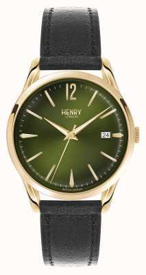 Henry London Czarny skórzany pasek Chiswick z zieloną tarczą HL39-S-0100