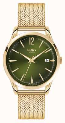 Henry London Chiswick pozłacana zielona tarcza HL39-M-0102
