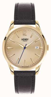 Henry London Brązowy skórzany pasek marki Westminster HL39-S-0006