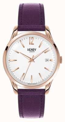 Henry London Hampstead fioletowy skórzany pasek biały wybierania HL39-S-0082