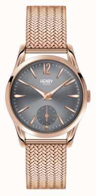 Henry London Szara tarcza Finchley z różowego złota HL30-UM-0116