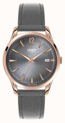 Henry London Skórzany szary skórzany pasek Finchley HL39-S-0120