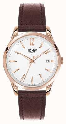 Henry London Brązowy skórzany pasek Richmond z białą tarczą HL39-S-0028