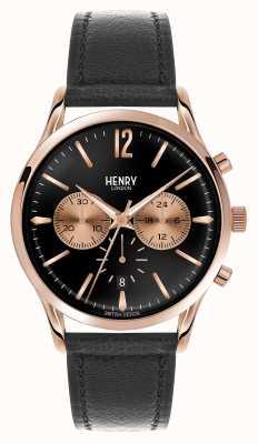 Henry London Czarny skórzany pasek chroniący Richmond HL41-CS-0042