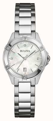 Bulova Damski zestaw diamentowy ze stali nierdzewnej w kolorze srebrnym 96W205