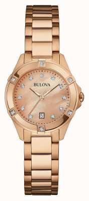 Bulova Damski różany talerz, diamentowy zegarek 97W101