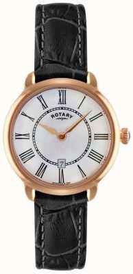 Rotary Damski zegarek z czarnego skórzanego paska LS02919/41
