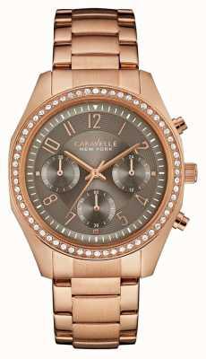 Caravelle New York Damski, różowo-złoty, kryształowy chronograf 44L195