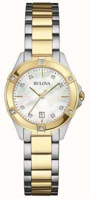 Bulova Zegarek damski z dwutonową diamentową grafiką 98W217