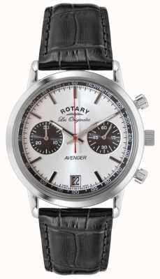Rotary Męski mściciel czarny skórzany pasek chronograficzny GS90130/06