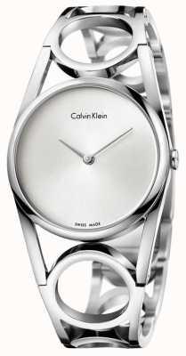 Calvin Klein Damska okrągła srebrna tarcza ze stali nierdzewnej K5U2S146