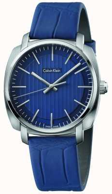 Calvin Klein Męski highline niebieski skórzany pasek niebieska tarcza K5M311VN