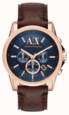 Armani Exchange Męski niebieski, ciemnobrązowy chronograf AX2508