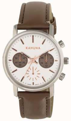 Kahuna Damski brązowy pasek z białą tarczą KLS-0318L