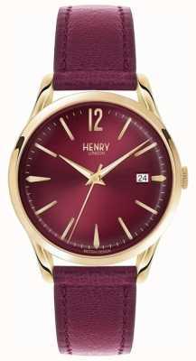 Henry London Unisex, holbordowy, skórzany, burgundowy zegar HL39-S-0066