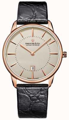 Dreyfuss Męski zegarek z czarnej skóry DGS00139/46