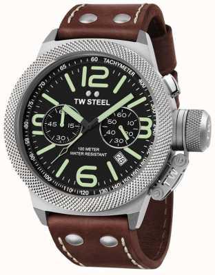 TW Steel Męska kantyna 50mm chrono brązowy skórzany pasek CS24