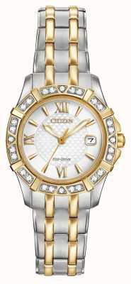 Citizen Eko-napęd 28 diamentów damski dwukolorowy EW2364-50A