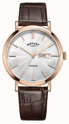Rotary Męski brązowy skórzany pasek z pozłacanego złota GS05304/02