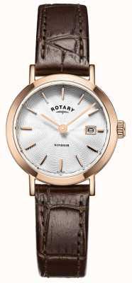 Rotary Damski, brązowy skórzany pasek srebrnej tarczy LS05304/02