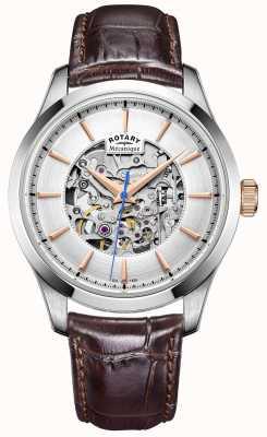 Rotary Męski srebrny skórzany pasek z brązową tarczą GS05032/06