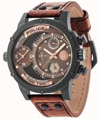 Police Brązowy skórzany pasek brązowa czarna tarcza 14536JSB/12A