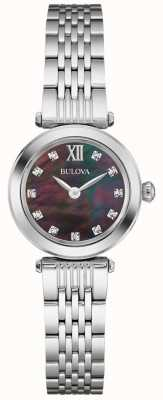 Bulova Damski metalowy pasek czarnej tarczy z masy perłowej 96S169