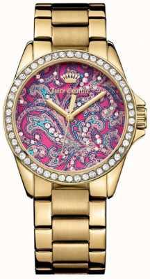 Juicy Couture Damski złoty pasek metalowy różowy wzór tarczy 1901424