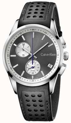 Calvin Klein Męski, odważny czarny skórzany zegarek chronograf K5A371C3