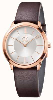Calvin Klein Męska minimalna srebrna tarcza z różowego złota K3M226G6
