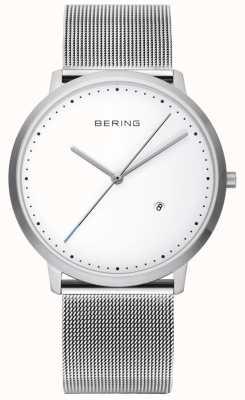 Bering Unisex srebrny pasek z białą tarczą 11139-004